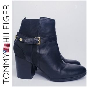 Tommy Hilfiger black side buckle ankle boots